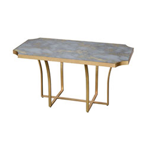Sterling Industries Xanadu Gold Leaf and Faux Grey Marble Coffee Table
