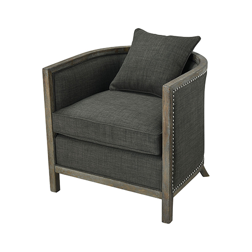Five Boroughs Reclaimed Brown, Grey Wood and Forest Floor Linen 28-Inch Club Chair