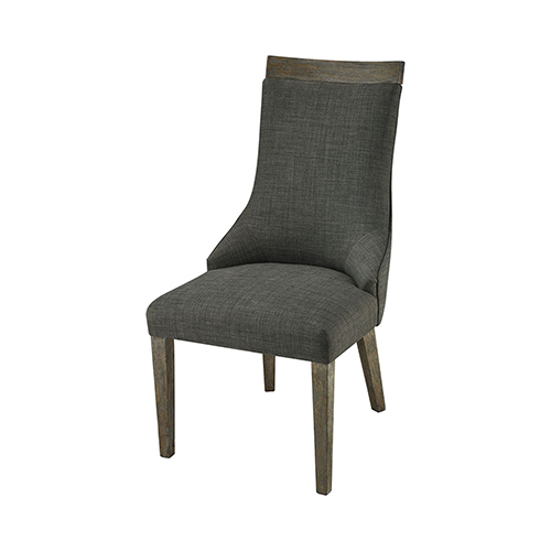 Five Boroughs Reclaimed Brown, Grey Wood and Forest Floor Linen 20.5-Inch Dining Chair