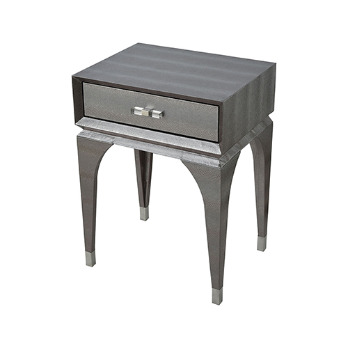 Sterling Industries Black Mamba Metallic Silver Faux Snake Skin with Chrome and Acrylic Hardware 18-Inch Accent Table