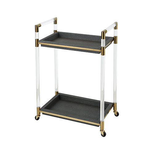 Acrylic, Gold Plated Stainless Steel and Grey Faux Leather 24-Inch Bar Cart