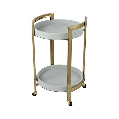 Pirouette White Faux Leather with Gold Plated Stainless Steel 18-Inch Bar Cart