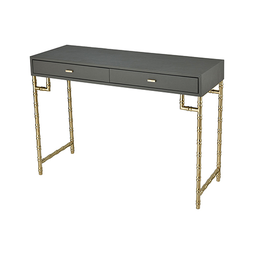 Sterling Industries Grand Grey Faux Leather with Gold Plated Stainless Steel 43-Inch Console Table
