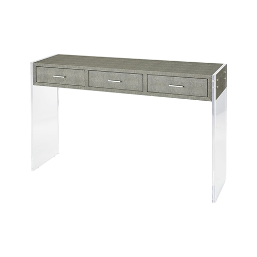 Monaco Grey Faux Shagreen and Clear Acrylic 48-Inch Console Table