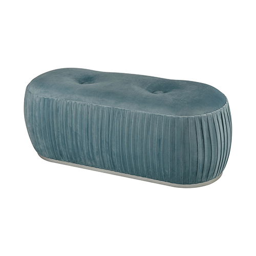 Sterling Industries Duck Egg Blue Velvet And Silver 47-Inch Bench