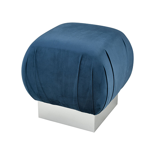 Sterling Industries Zanzibar Navy Velvet With Silver 18-Inch Stool