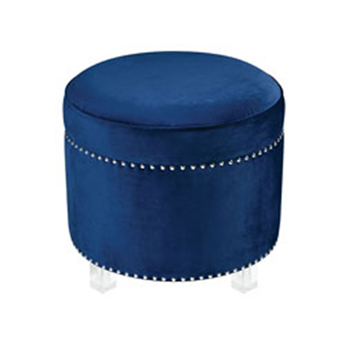 Sterling Industries National Velvet Navy and Clear Ottoman