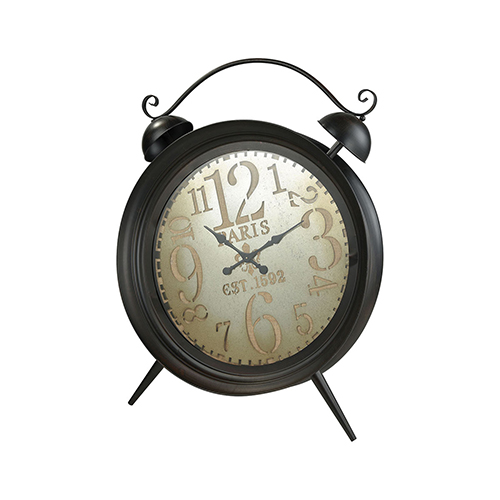 Sterling Industries Picpus Dark Rust, Pewter and Burlap 36-Inch Clock