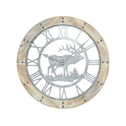 Crawford Notch Wood Tone and Galvanized Steel Clock