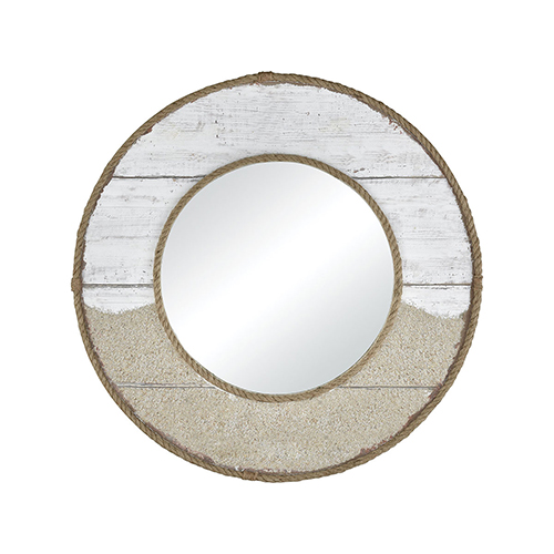 Old Sand and White Washed Wood 31-Inch Mirror