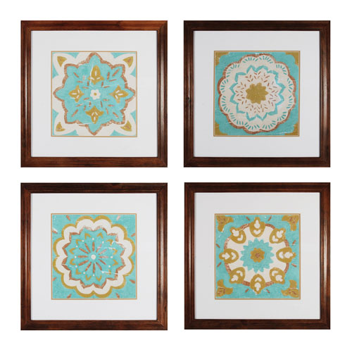 Sterling Industries Tiles I Rattan Wood 27.4-Inch Wall Art, Set of 4