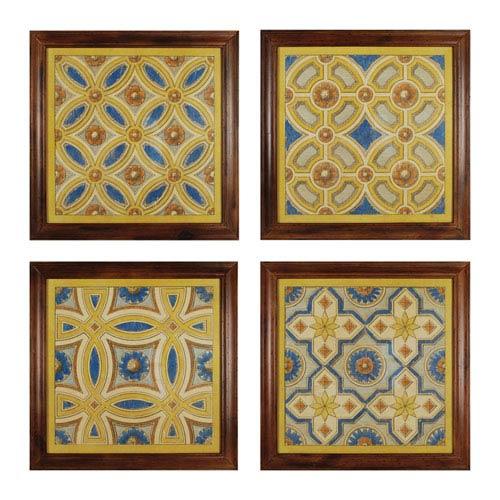 Sterling Industries Florentine Tile I Rattan Wood 23.5-Inch Wall Art, Set of 4