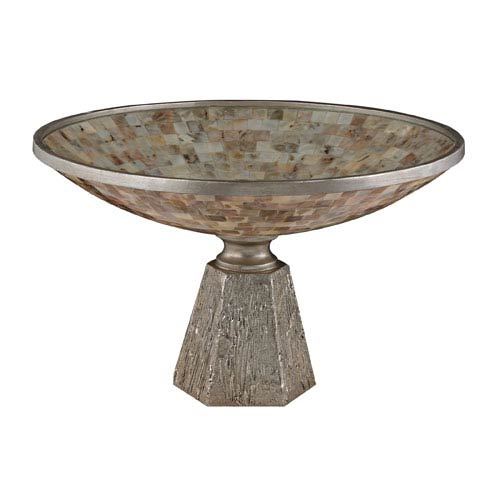 Sterling Industries Mother Of Pearl and Silver Leaf 10-Inch Bowl