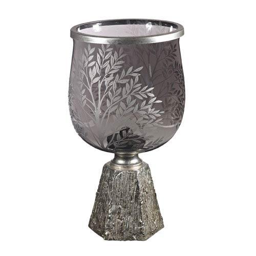 Grey Smoke and Silver Leaf 15-Inch Bowl