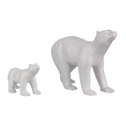 Polar Bear in Gloss White 9-Inch Statuary, Set of 2