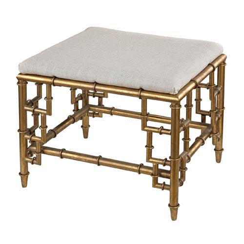 Clear, Cream and Gold Leaf 18-Inch Bench