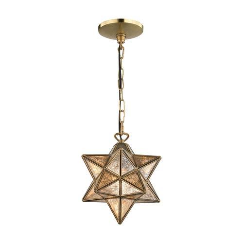 Moravian Gold Antique Mercury One-Light 9-Inch Mini Pendant
