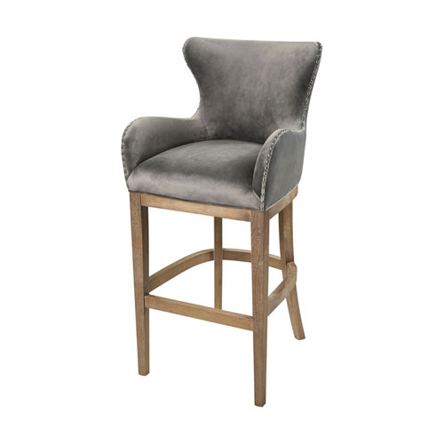 Roxie Grey and Reclaimed Oak Bar Chair