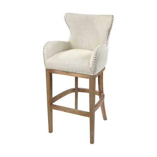 Roxie Cream and Reclaimed Oak Linen Bar Chair