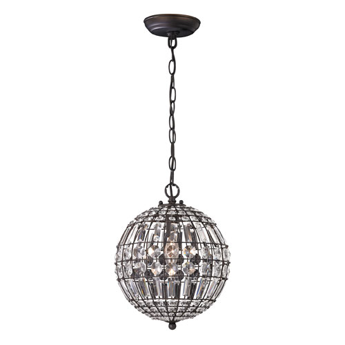 Sterling Industries Dark Bronze and Clear 12-Inch One Light Mini Pendant