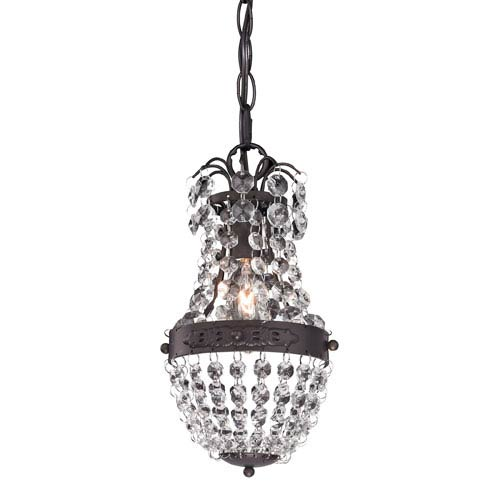 Dark Bronze and Clear Crystal 9-Inch One Light Mini Pendant