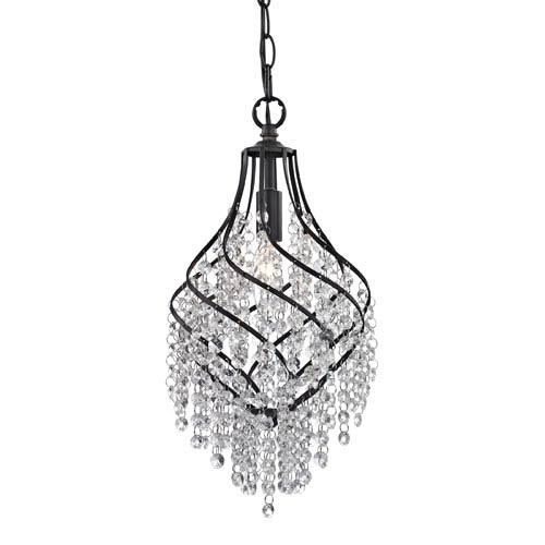 Sterling Industries Dark Bronze and Clear Crystal 16-Inch One Light Pendant