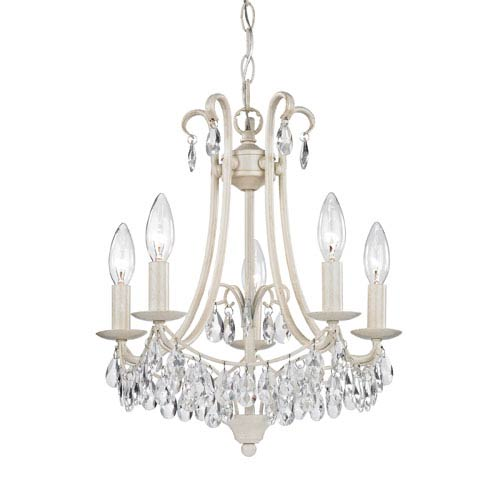 Antique Cream and Clear Crystal 16-Inch Five Light Mini Chandelier