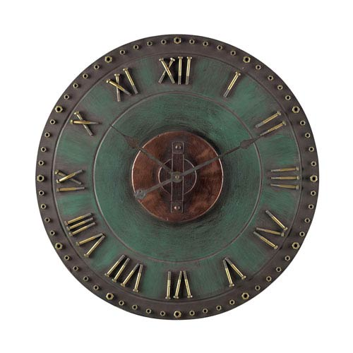 Roman Numeral Verde and Gold 24-Inch Outdoor Wall Clock