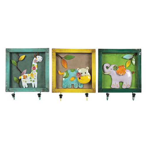 Sterling Industries Impact Yellow, Teal, Green 3-Inch Set of 3 Animal Picture Hook