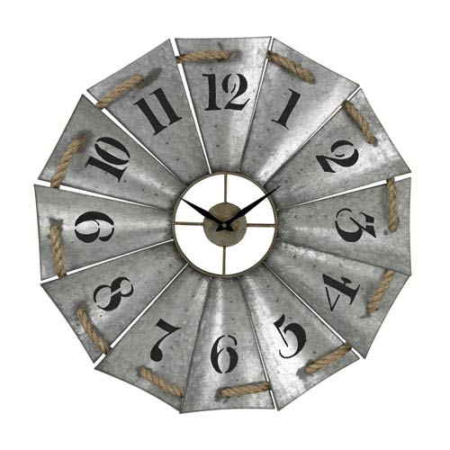 Sterling Industries Galvanized Metal and Natural Rope 29-Inch Wall Clock
