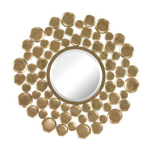 Sterling Industries Bubble Frame Gold Leaf 32-Inch Arched and Crowned Mirror