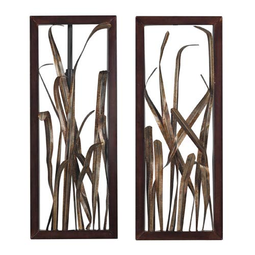 Sterling Industries Hayfield Gold and Bronze 27-Inch Wall Art, Set of 2