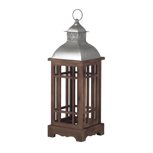 Sterling Industries Poynton Natural Wood and Stainless Steel 26-Inch Candle Lantern