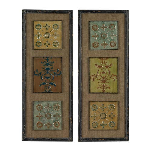 Sterling Industries Distressed Black 36-Inch Wall Art, Set of 2