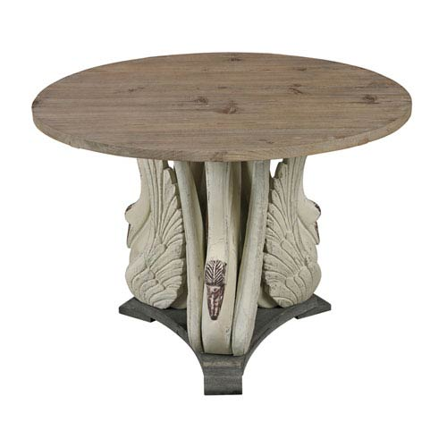 Baywood Antique White, Grey and Washed Pine 28-Inch Accent Table