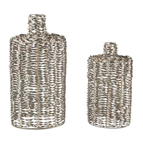 Sterling Industries Silver Leaf 25-Inch Work Vase, Set of 2