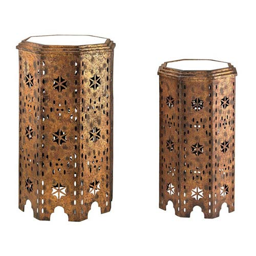 Sterling Industries Moroccan Gold 27-Inch Side Table, Set of 2