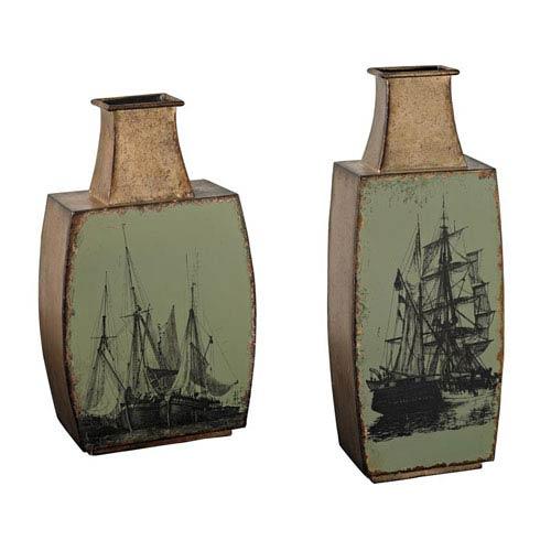 Sterling Industries Mint and Sandbar Bronze 17-Inch Vase, Set of 2