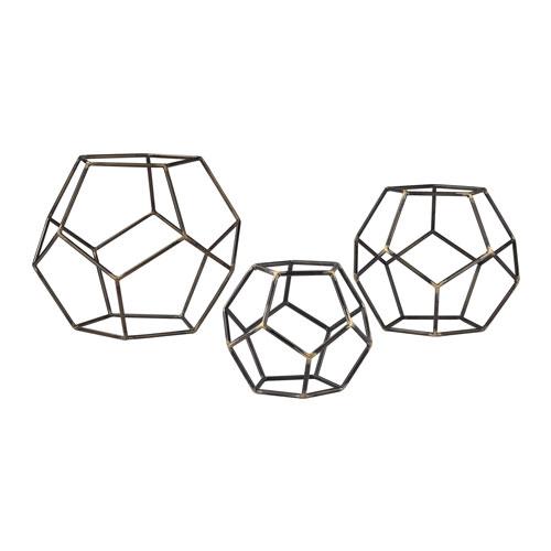 Grey Iron Geometric Orbs, Set of Three