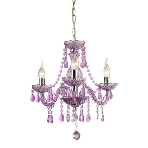 Sterling Industries Theatre Purple and Chrome 17.5-Inch Three Light Chandelier