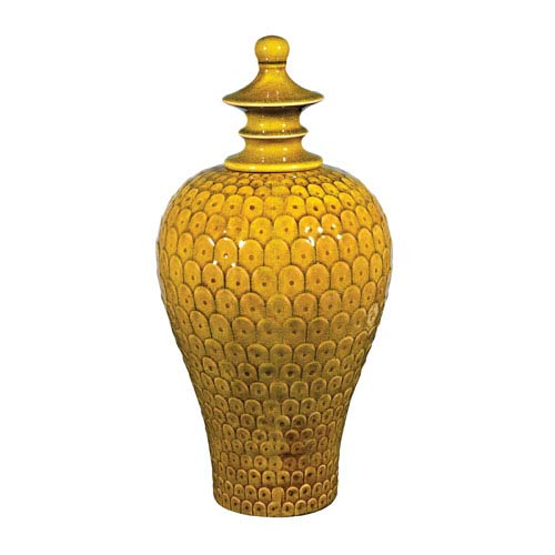 Lidded Chartreuse and Medium Ceramic 20-Inch Jar