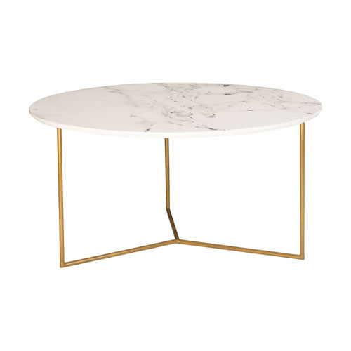 Sterling Industries Glacier Gold and White Printed Marble Coffee Table