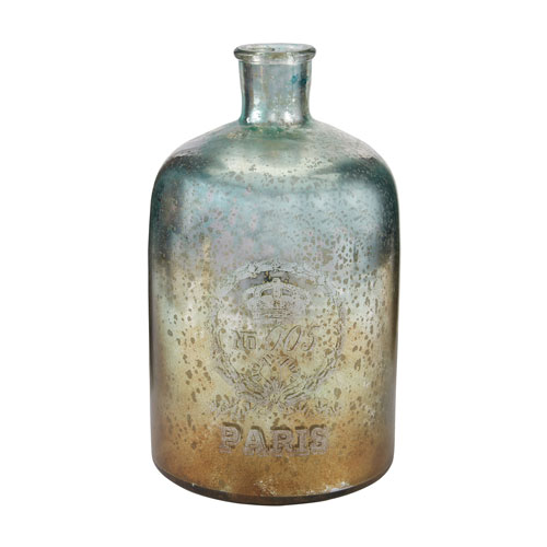 Aqua and Antique Mercury 12-Inch Tall Glass Bottle