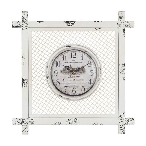 Distressed White Vintage Style Clock in Square Mesh