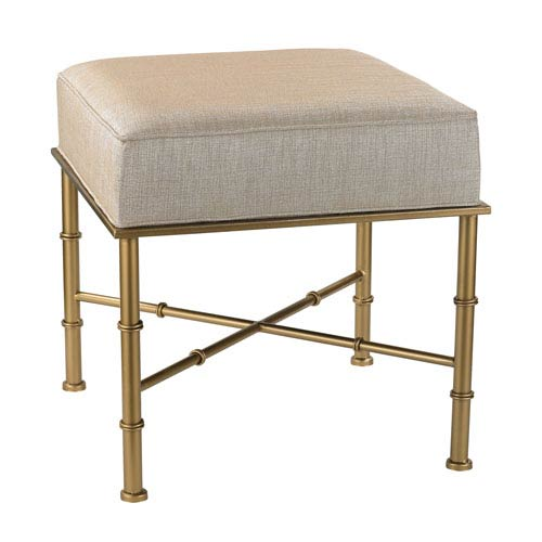 Gold and Cream Metallic Cane Bench