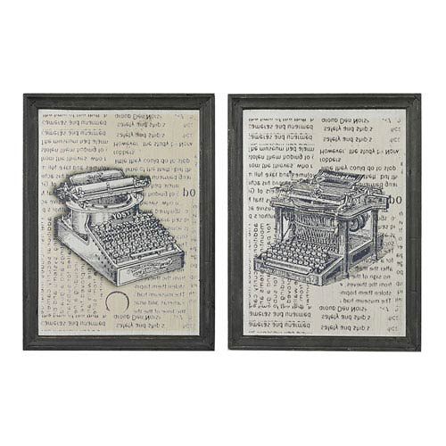 Etched Black and Clear 16-Inch Wall Art, Set of 2