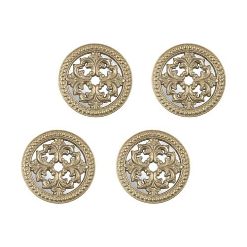 Set of 4 Triomphe Champagne Gold White Antique Wall Decor