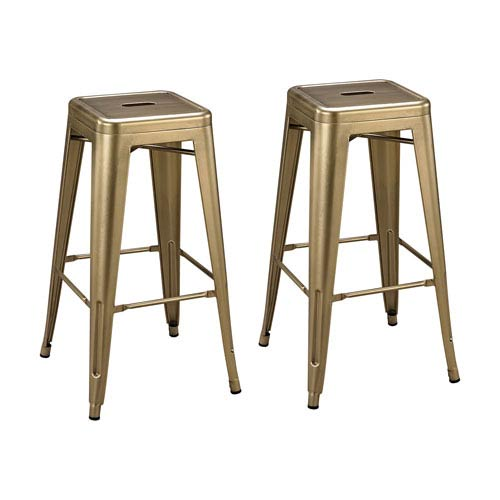Set of 2 Acento Antique Gold Stools