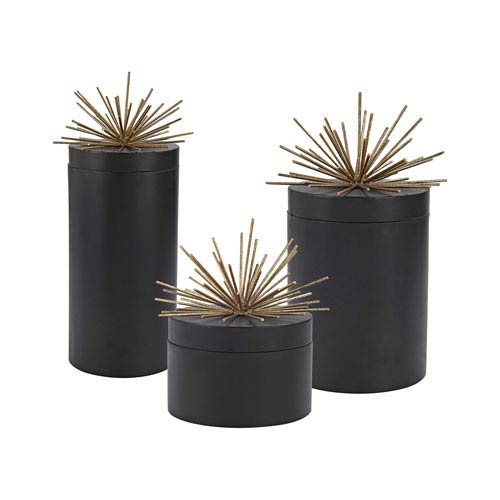 Set of 3 Quark Black Aged Gold Jars