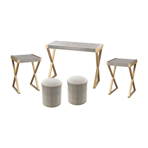 Sterling Industries 5-Piece Sands Gold Grey Table Set